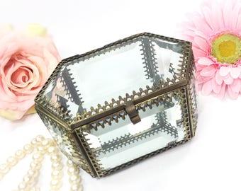 Ormolu Inspired Filigree  Mirrored Jewlery Box, Beveled Glass Top Vanity Box, , GlassTrinket Box, Vintage Decor #B042