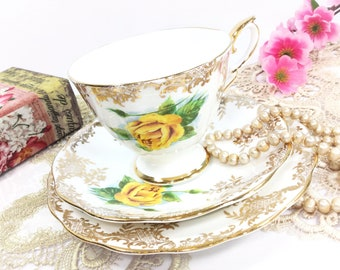Royal Standard English Tea Trio, Yellow Rose Filigree Bone China English Tea Cup, Saucer, Plate For Tea Time, Tea Party, Wedding #B512