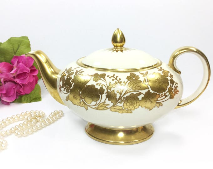 Exquisite Gold Sadler Teapot, Full Sized Gold Floral English Teapot, Perfect for Tea Party, Wedding, Shower, Tea Time #B181