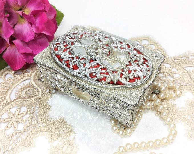 Ornate Silver Cherub Trinket Box, Silver Victorian Jewlery Box, Victorian Trinket Box, Silver Keepsake Box #B254