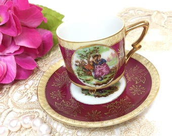 Beautiful Courting Couple Footed Cup & Saucer, Love Story Tea Set, Fragonard, Courting Couple Tea for Wedding, Tea Time, Tea Part #B299