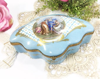 Large Blue Victorian 3 Graces Trinket Box, Vintage French Jewelry Box, Ring Holder Gift, Boudoir #B349