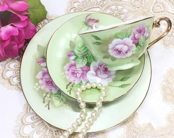 Lefton Heritage Trio Tea Set, Lefton Cup, Saucer & Plate, Lefton Heritage Tea Set, Heritage Dinnerware, Japan Tea Set #B282