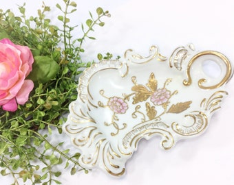 Exquisite Pink Floral Trinket Tray, European Jewelry Tray, Romantic Decor, Victorian Decor, Candy Tray, Nut Dish #B394