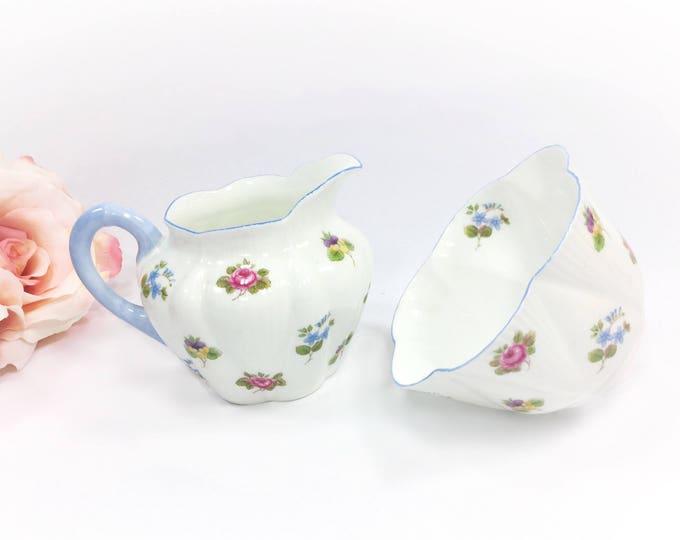 Shelley Rose Pansy Forget Me NotCreamer & Sugar Bowl, Blue Shelley Dainty Shape Creamer And Sugar Bowl, 4 Tea Set, Tea Party, England #A932