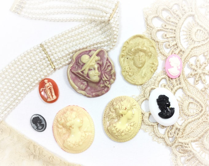 Lot of 8 Vintage Cameo Blanks, Cameo Lot for Pendents, Brooch, Cameo Hat Pin, Cameo Jewelry, Victorian Jewelry Repair #B114