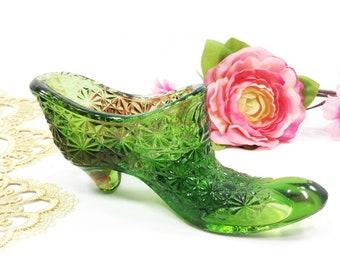 Vintage Fenton Green Glass Shoe,  Fenton Glass Shoe, Victorian Boot, Vanity Desk, Decor #B479