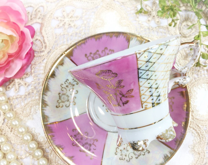 Pink Lusterware Footed Tea Cup & Saucer, Pink Tea Set, Iridescent Tea Set 4 Tea Party, Pink Tea party, Tea Time, Gift  #B375