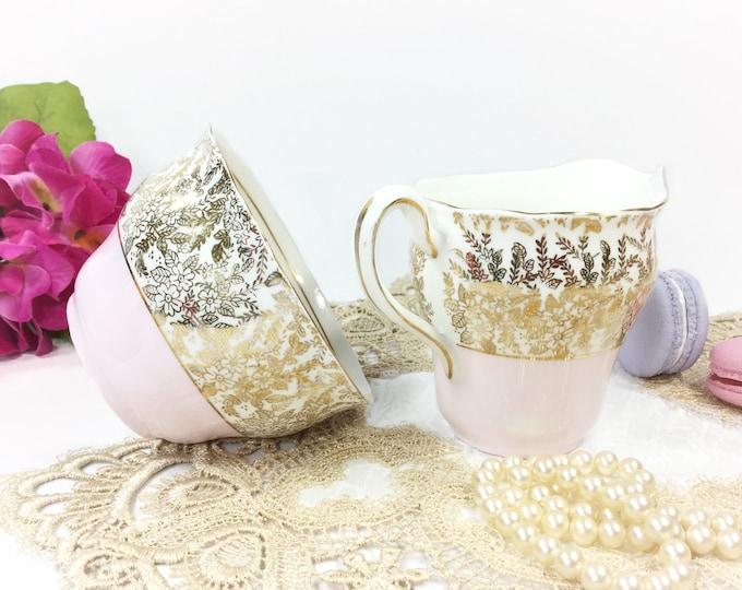 Colclough Gold Chintz English Bone China Open Pink Sugar Bowl & Creamer for Pink Tea Set Tea Party, Wedding. English Bone China #B291