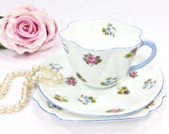 Shelley Rose Pansy Forget Me Not Trio, Blue Shelley Dainty Shape English Bone China, Tea Cup Saucer Dessert Plate, Tea Trio #A931