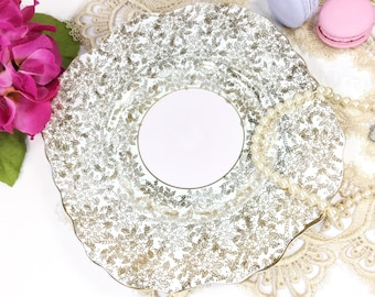 English Colclough Pink Cake Plate, Gold Chintz Fine Bone China Serving Plate for Pink Tea Set, Tea Party, Wedding, England #B290