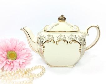 Enchanting Cubed Sadler English Floral Gilt Teapot, Sadler English Teapot, Perfect for Tea Party, Wedding, Shower, Tea Time #B013