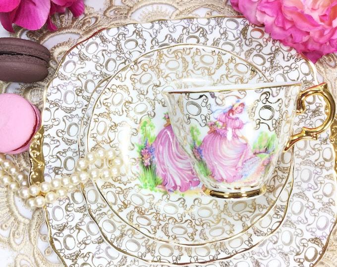 Pinkie English Tea Trio, Pinkie Teacup, Saucer, Plate, Leonard St. Pottery,  English Fine Bone China, Crinoline Lady, 22 Kt. Gold #B328
