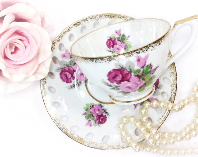 Vintage Enesco Pink Floral Teacup & Reticulated Saucer, China Tea Set, Lusterware Tea Set for Wedding, Shower, Tea Time, Tea Party #B197