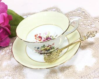 Hammersley Yellow Floral Tea Cup & Saucer, English Fine Bone China Tea Set, for Wedding, Shower, Tea Time, Bridal, Tea Party, Gift #B261