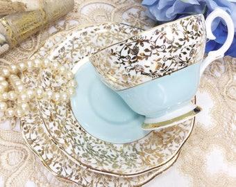 Soft Blue English Tea Trio, Gold Chintz Bone China English Tea Cup, Saucer, Plate For Tea Time, Tea Party, Wedding. #B306