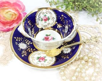 Stunning Cobalt Blue Floral Fine Bone China English Tea Cup & Saucer, Wedding Shower, Tea Time, Bridal, Tea Party #B362