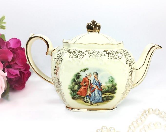Cubed Sadler English Fragonard Gilt Teapot, Victorian Couple English Teapot, Perfect for Tea Party, Wedding, Shower, Tea Time #A954