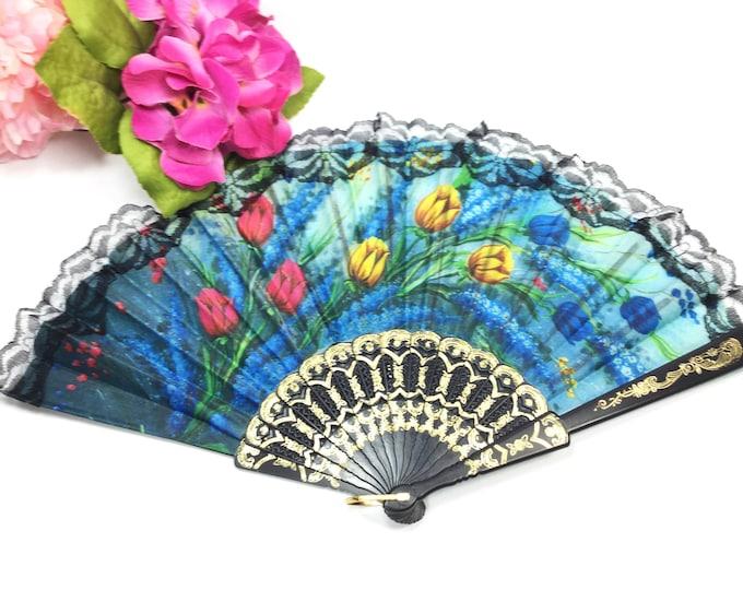 Vintage Blue Tulip Floral Spanish Folding Fan For Weddings, Dress up, Bridal Showers, Gift, Tea Party, Tea Time, Church # B154