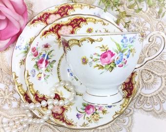 Tuscan Windsor English Tea Trio, Fine Bone China Trio, English Tea Cup, Saucer, Plate For Tea Time, Tea Party #B442