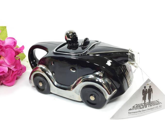 Black Racing Car Teapot, Art Deco Car Teapot, Collectible Sarsaparilla Teapot, Deco Designs Sarsaparilla Car Teapot #A980