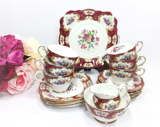 21 Pc Royal Standard Lady Fayre English Tea Set, Lady Fayre Trio, English Bone China English Tea Cup, Saucer, Plate, Tea Party #A939