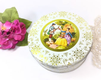 Vintage Victorian Cookie Tin, Victorian Tea Tin, Tea Caddy Tea Storage for Tea Time, Tea Party,  Trinket Box, Photography Prop  #B108