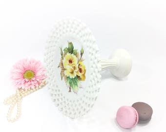 Yellow Rose Reticulated Compote Serving Dish, Candy Dish, Platter, Jewlery holder, Trinket Holder, Gift #B009