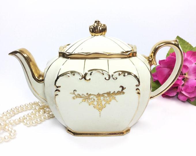 Enchanting Cubed Sadler Teapot, Full Sized Gold Filigree English Teapot, Perfect for Tea Party, Wedding, Shower, Tea Time #B170