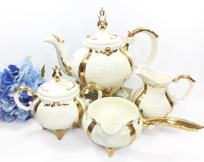 4 Piece Loma Gold Gilt Vintage Teapot Set, Teapot, Covered Sugar Bowl, Creamer For Tea Set, Party, Wedding, Tea Time #B217