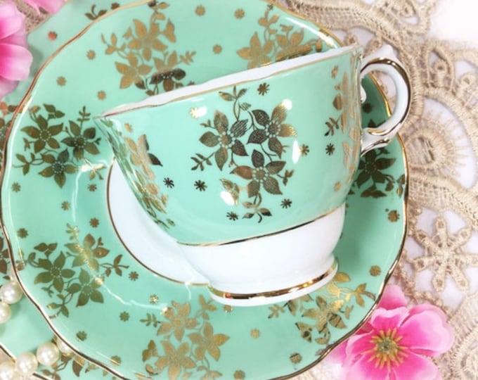 Colclough Green & Gold Tea Set, Green Tea Trio, English Bone China Tea Cup, Saucer, Plate for Tea Party. Staffordshire, 1960s #B289