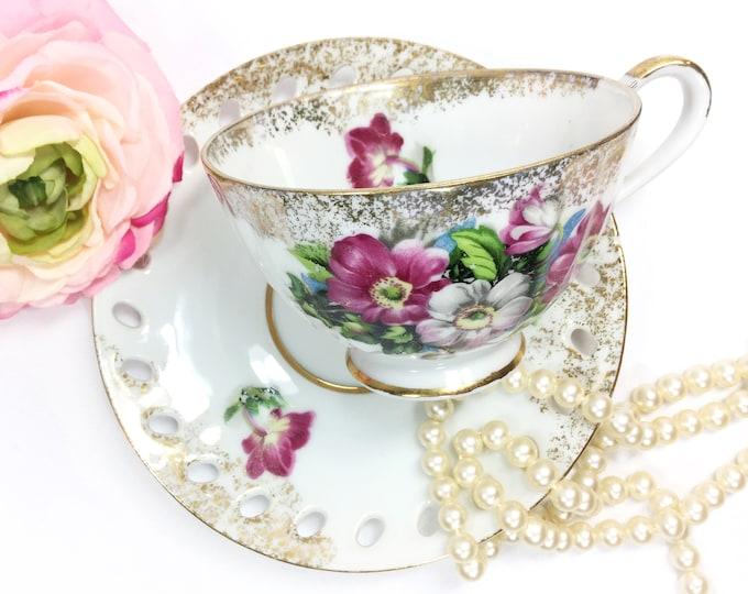 Enesco Floral Teacup & Reticulated Saucer, China Tea Set, Japan Tea Set for Wedding, Shower, Tea Time, Bridal, Tea Party, Gift #B194