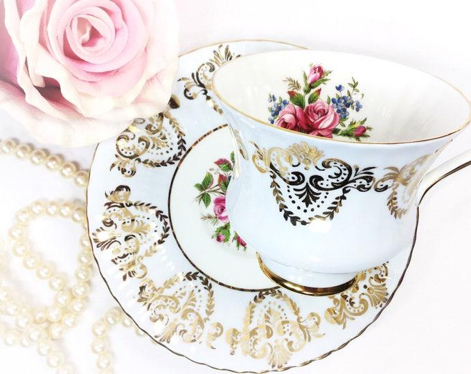 Stunning Blue Floral Paragon Fine Bone China English Tea Cup & Saucer, Wedding Shower, Tea Time, Bridal, Tea Party, Gift #B169