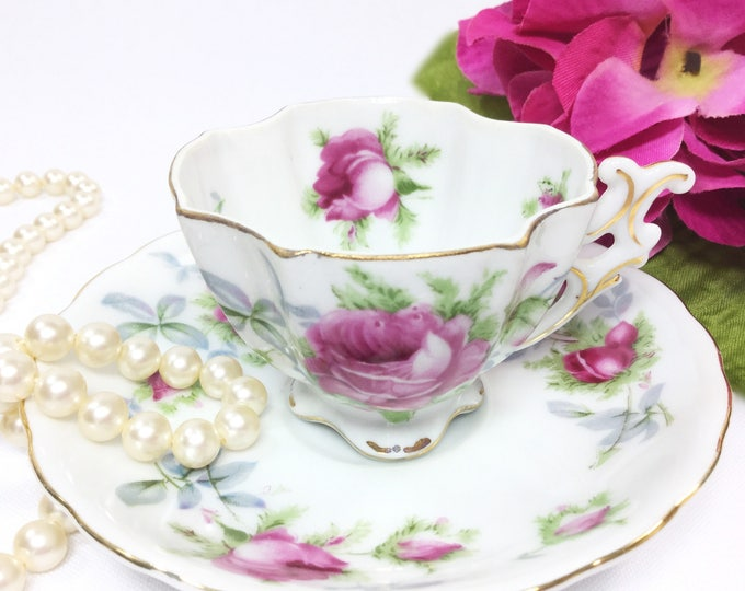 Lefton Teacup and Saucer, Japan Teacup and Saucer, Victorian Tea, Coffee, Cappuccino, Lefton Tea Set # B074