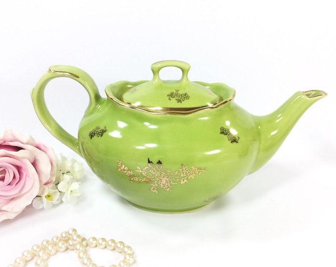 RARE Green Pearl China Co. 22kt Hand Decorated Teapot, 22kt Gold Teapot For Tea Time, Tea Party, Baby Shower, Wedding, Gift #B003