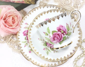Collingwoods Rose Tea Trio, Bone China Tea Set, Pink Rose Tea Party English Tea Set #B465