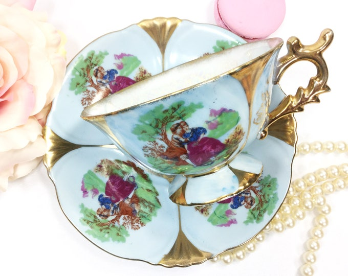 Blue Fragonard Teacup and Saucer, Courting Couple Love Story Cup Saucer, Victorian Couple Teaset # B203