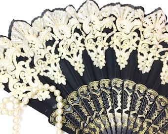 Black & Gold Spanish Floral Folding Fan, Black Gold Hand Fan For Weddings, Dress up, Funeral Fan, Church, Tea Party, Tea Time #B195