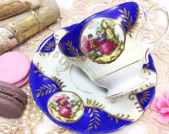 Blue Courting Couple Footed Cup & Saucer, Courting Couple Tea Set for Wedding, Tea Time, Tea Party, Gift #B305