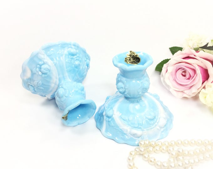 Pair Blue Fenton Milk Glass Rose Candlestick Holders, Fenton Blue Candlestick Holders For Wedding, Home Decor, Mother's Day #A912