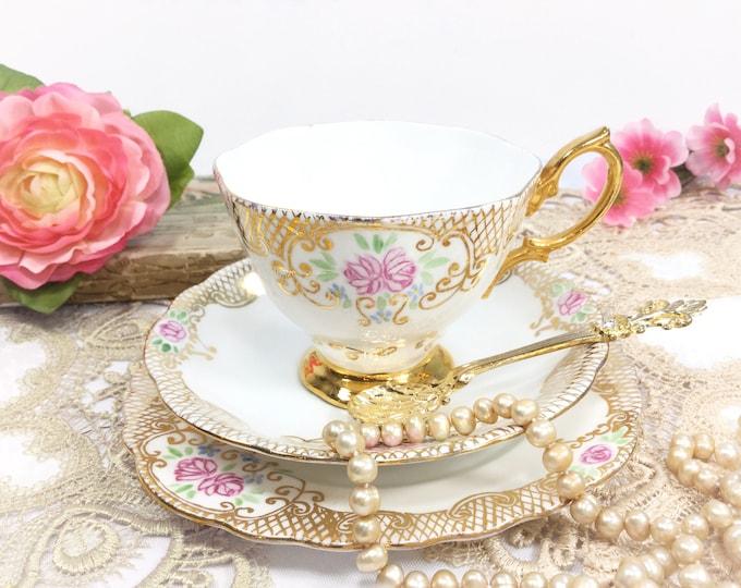 Dainty English Tea Trio, Pink Rose Filigree Bone China English Tea Cup, Saucer, Plate For Tea Time, Tea Party, Wedding #B513