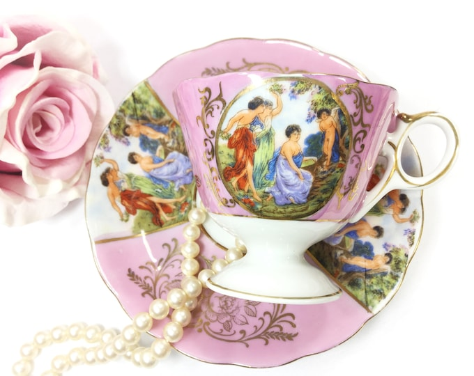 Royal Halsey Footed Cup And Saucer, Very Fine Bone China Tea Cup & Saucer, Wedding Shower, Tea Time, Bridal, Tea Party, Gift  #B002