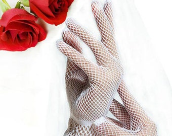 Beautiful White Fishnet Ladies Wrist Length Perfect for Wedding, Tea Party, Showers, Dress up, Gift #A254