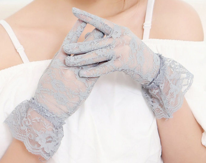 Charming Grey Lace Ladies Above Wrist Length Gloves W/ Lace Ruffle Perfect for Wedding, Tea Party, Showers, Dress up, Gift