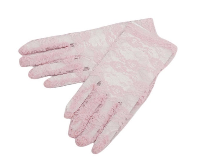 Enchanting Pink Lace Ladies Wrist Length Gloves Perfect for Wedding, Tea Party, Showers, Gift