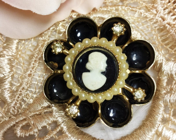 Vintage Rhinestone Pearl Black Cameo Brooch, Black Cameo Pin, Cameo Jewelry, Victorian #926
