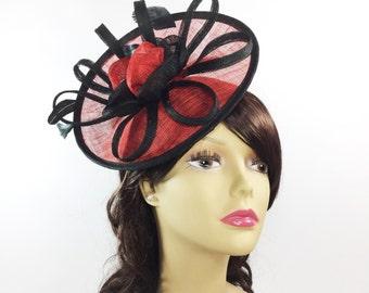 Red   Black Fascinator Hair Clip Pillbox Tea Hat Sinamay Hair Band  Headpiece For Weddings 06efcba5cb48