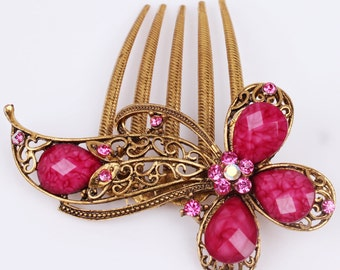 Pink & Gold Colored Antique Austrian Crystal Hair Comb Pin Christmas, Bridesmaid Gift #813