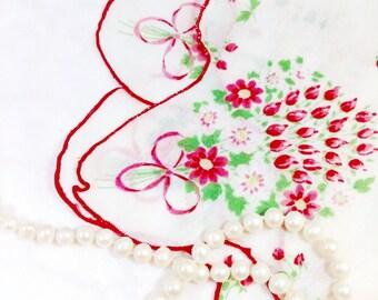 Vintage Red Floral Ladies Scalloped Handkerchief, Victorian Boudoir, Hanky, Valentine's, Shabby Chic, Vanity, Tea Time #361