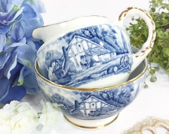H & M Sutherland Scenic Rural Scenes Creamer and Sugar Bowl, Blue and White Scenic Bone China English Tea Set For Tea Party #B425